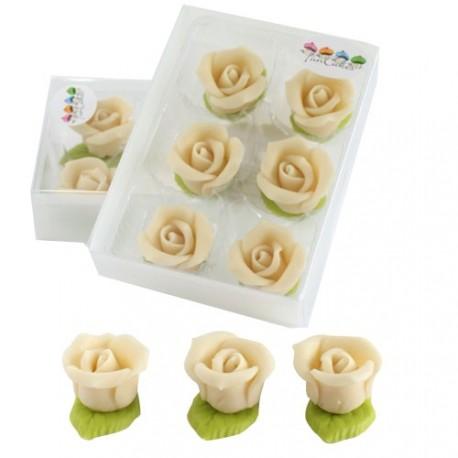 """6 roses en pâte d'amande """"blanches"""""""