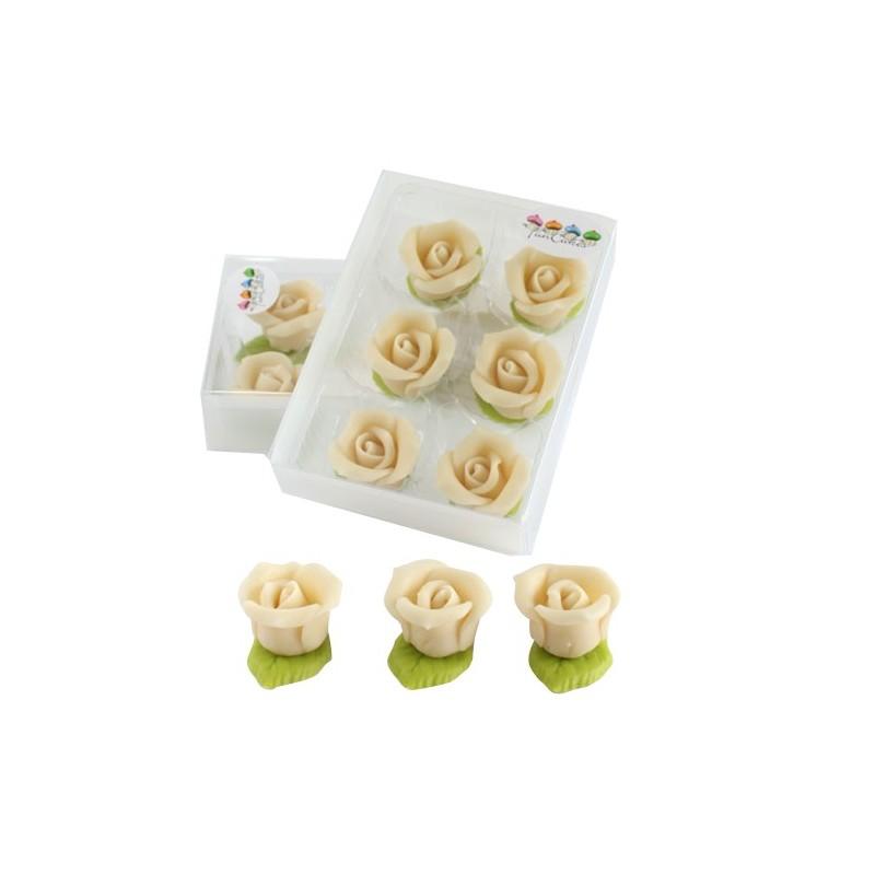 6 roses en p te d 39 amande blanches funcakes - Deco pate d amande ...