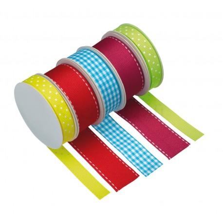 """5 rouleaux de rubans """"multicolores"""""""