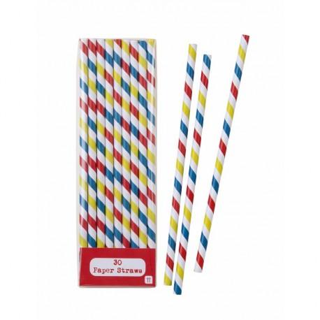 30 pailles multicolores à rayures