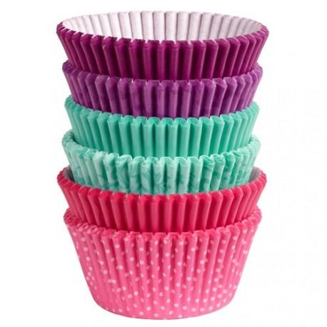 """150 caissettes papier """"Violet Turquoise Rose"""""""