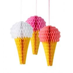 """3 décorations nid d'abeille """"cône de glace"""""""