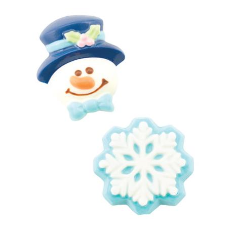 """Moule à chocolats et confiseries """"bonhome et flocon de neige"""""""