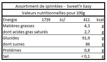 Valeurs nutritionnelles de l'assortiment de sprinkles -Sweet'n Easy