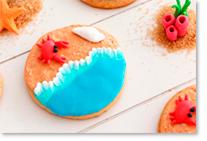 Biscuits 'océan' réalisés avec des colorants alimentaires